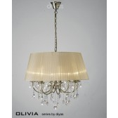 Diyas Olivia Pendant 8 Light Antique Brass/Crystal With Soft Bronze Shade