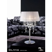 Diyas Olivia Table Lamp 3 Light Polished Chrome/Crystal With White Shade