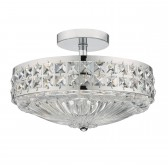 Olona 3 Light Semi Flush Polished Chrome And Clear Crystal
