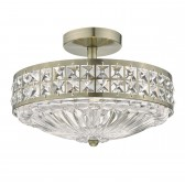 Olona 3 Light Semi Flush Antique Brass And Clear Crystal