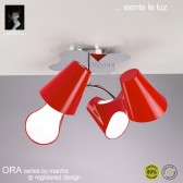 Ora Ceiling 4 Light Polished Chrome/Red