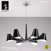 Ora Pendant/Semi Ceiling 6 Light Polished Chrome/Black