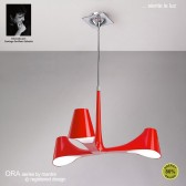 Ora Pendant/Semi Ceiling 3 Light Polished Chrome/Red