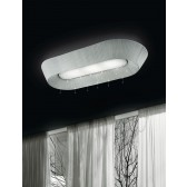Parigi Long Flush Ceiling Fitting - 3 Light, White Shade