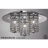 Diyas Pegasus Ceiling 3 Light Polished Chrome/Smoked Mirror/Smoked Crystal