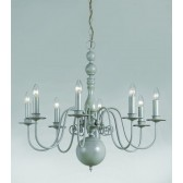 Impex Bologna Chandelier Grey - 8 Light