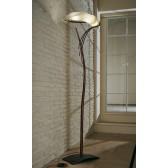 Roma Floor Lamp - 3 Light, Copper Red, Amber Glass