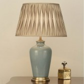 Interiors1900 Ryhall Large Table Lamp Duck Egg Blue, Beige Pinch Pleated Shade