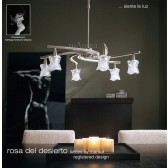 Rosa Del Desierto Telescopic Pendant 6 Lights Satin Nickel
