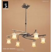 Rosa Del Desierto Telescopic Pendant 6 Lights Antique Brass