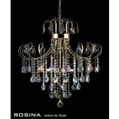 Diyas Rosina Pendant 6 Light French Gold/Crystal