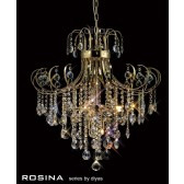 Diyas Rosina Pendant 7 Light French Gold/Crystal