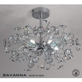 Diyas Savanna Ceiling 5 Light Polished Chrome/Crystal
