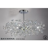 Diyas Savanna Ceiling 8 Light Polished Chrome/Crystal