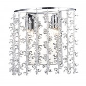 Sestina 2 Light Wall Bracket Polished Chrome Aluminium Crystal Rods