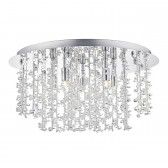 Sestina 5 Light Flush Polished Chrome With Alum And Crystal Rods