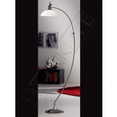 Franklite Asti Modern Floor Lamp - Black Chrome, Complete with Glass Shade