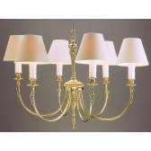 Impex Richmond Chandelier Polished Brass - 6 Light