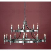 Impex Saxon Chandelier Sterling - 15 Light, Satin Chrome & Nickel