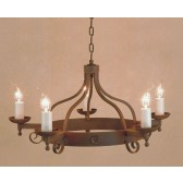 Impex Forge Chandelier Aged - 5 Light, Brown