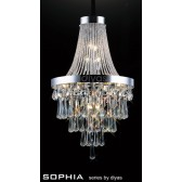 Diyas Sophia Pendant 13 Light Chrome/Crystal