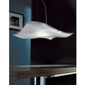 Berlino Ceiling Pendant - 1 Light, Chrome, Sandblasted Crystal Glass