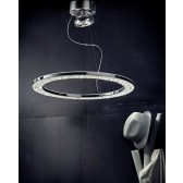 Male LED Circular Ceiling Light - Polished Chrome, Crystal Glass