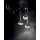 Graal Ceiling Light - 3 Light, Polished Chrome, Crystal Glass