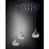 Graal Pendant Light - 3 Light, Polished Chrome, Crystal Glass