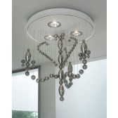 Veneziano LED Flush Ceiling Light - White, Smoked Glass