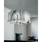 Venezia Large Pendant Light - 4 Light, Polished Chrome, White and Black Glass