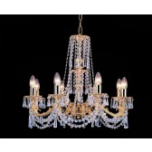 Impex Stuttgart Chandelier - 8 Light, Brass Plate & Gold Plate