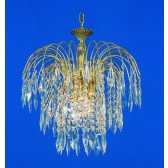 Impex Shower Chandelier - 3 Light, Brass Plate & Gold Plate