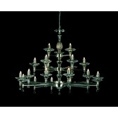 Impex San Marino Chandelier - 21 Light, Satin Chrome & Nickel