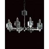 Impex Cube Chandelier - 8 Light, Satin Chrome & Nickel