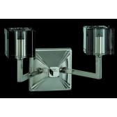 Impex Cube Wall Light - 2 Light, Satin Chrome & Nickel