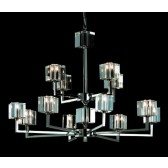 Impex Cube Chandelier - 12 Light, Satin Chrome & Nickel