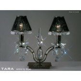 Diyas Tara Table Lamp 2 Light Polished Black Chrome/Crystal