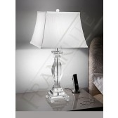 Franklite Hugo Table Lamp - Crystal Glass Base, Chrome, Complete with Flared Silk Shade