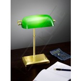 Franklite Bankers Lamp - Satin Brass, Complete with Adjustable Green Glass