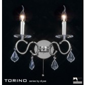 Diyas Torino Wall Lamp 2 Light Polished Chrome/Crystal