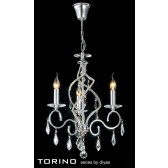 Diyas Torino Pendant 3 Light Round Polished Chrome/Crystal