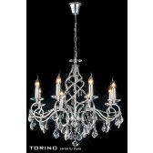 Diyas Torino Pendant 8 Light Round Polished Chrome/Crystal