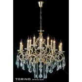 Diyas Torino Pendant 15 Light Round Polished Gold Plated/Crystal