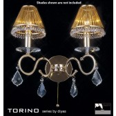 Diyas Torino Wall Lamp 2 Light Polished Gold Plated/Crystal