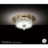 Diyas Tosca Ceiling Round 4 Light Antique Brass/Crystal
