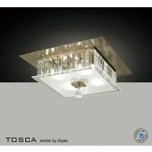 Diyas Tosca Ceiling Square 4 Light Antique Brass/Crystal