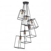 Tower 6 Light Cluster Pendant Black