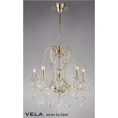 Diyas Vela Pendant 5 Light French Gold/Crystal