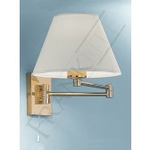 Franklite Swing Arm Wall Light - Polished Brass, Shade Included